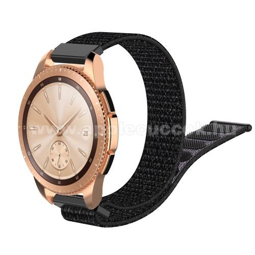 Okosóra szíj - szövet, tépőzáras - 210mm hosszú, 19mm széles - FEKETE - SAMSUNG SM-R600 Galaxy Gear Sport / SAMSUNG SM-R810NZ Galaxy Watch 42mm / SAMSUNG SM-R720 Gear S2 Classic