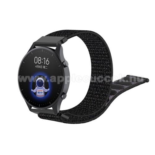 Okosóra szíj - szövet, tépőzáras - 22mm széles - FEKETE - Xiaomi Watch Color / SAMSUNG Galaxy Watch 46mm / HUAWEI Watch GT 2 46mm / Gear S3 Frontier
