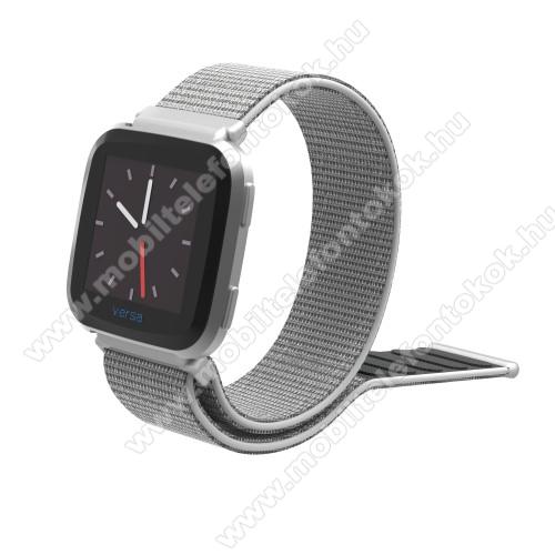 Okosóra szíj - szövet, tépőzáras, 25cm hosszú, 23mm széles - EZÜST - Fitbit Versa / Fitbit Versa Lite / Fitbit Versa 2