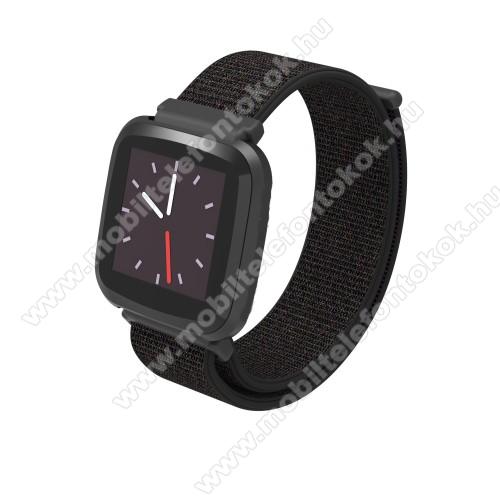 Okosóra szíj - szövet, tépőzáras - FEKETE - 23mm széles - Fitbit Versa / Fitbit Versa Lite / Fitbit Versa 2