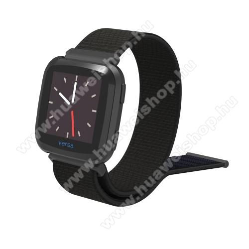 Okosóra szíj - szövet, tépőzáras - FEKETE - 25cm hosszú - Fitbit Versa / Fitbit Versa Lite / Fitbit Versa 2