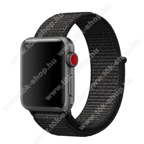Okosóra szíj - szövet, tépőzáras - FEKETE - APPLE Watch Series 3/2/1 42mm / APPLE Watch Series 4 44mm / APPLE Watch Series 5 44mm