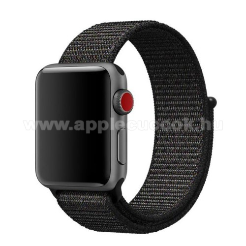 Apple Watch Series 5 44mm Okosóra szíj - szövet, tépőzáras - FEKETE - APPLE Watch Series 3/2/1 42mm / APPLE Watch Series 4 44mm / APPLE Watch Series 5 44mm