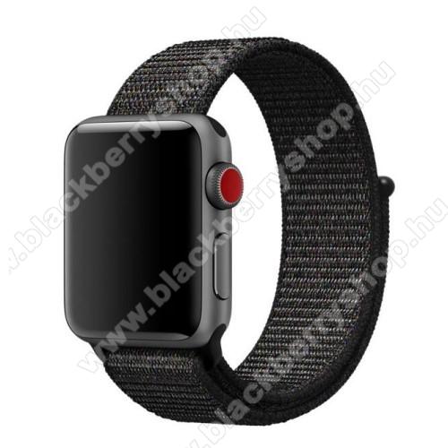 Okosóra szíj - szövet, tépőzáras - FEKETE - APPLE Watch Series 3/2/1 42mm / APPLE Watch Series 4 44mm / APPLE Watch Series 5 44mm