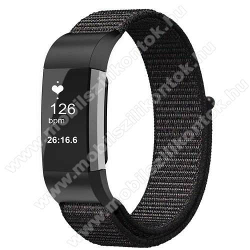 Okosóra szíj - szövet, tépőzáras - FEKETE - Fitbit Charge 3 / Fitbit Charge 3 SE / Fitbit Charge 4