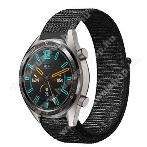 HUAWEI Watch 2 ProOkosóra szíj - szövet, tépőzáras, légáteresztő, sportoláshoz, 22mm széles - FEKETE - HUAWEI Watch GT / HUAWEI Honor Watch Magic / HUAWEI Watch 2 Pro