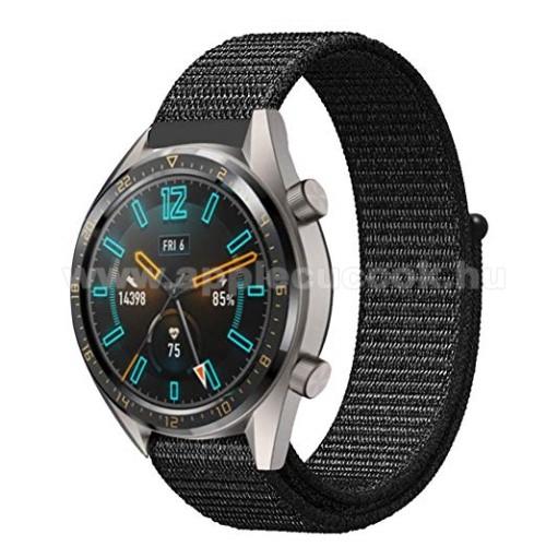 Okosóra szíj - szövet, tépőzáras, légáteresztő, sportoláshoz, 190mm hosszú, 22mm széles - FEKETE - HUAWEI Watch GT / HUAWEI Honor Watch Magic / HUAWEI Watch 2 Pro