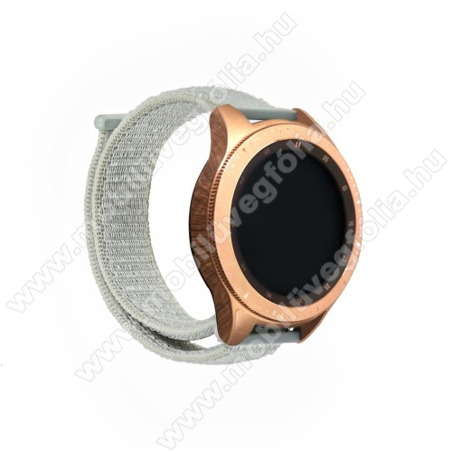 HUAWEI MagicWatch 2 42mm Okosóra szíj - szövet, tépőzáras - SZÜRKE - 195mm hosszú, 20mm széles - SAMSUNG Galaxy Watch 42mm / Xiaomi Amazfit GTS / HUAWEI Watch GT / SAMSUNG Gear S2 / HUAWEI Watch GT 2 42mm / Galaxy Watch Active / Active  2 / Galaxy Gear Sport