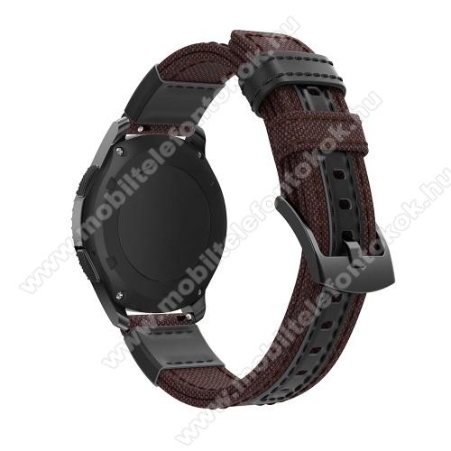 Okosóra szíj - szövet / valódi bőr, 22mm széles - BARNA - SAMSUNG Galaxy Watch 46mm / SAMSUNG Gear S3 Classic / Gear S3 Frontier / Honor MagicWatch 2 46mm