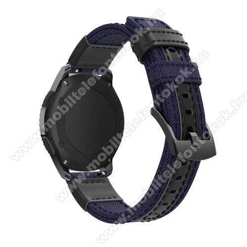 Okosóra szíj - szövet / valódi bőr, 22mm széles - SÖTÉTKÉK - SAMSUNG Galaxy Watch 46mm / SAMSUNG Gear S3 Classic / Gear S3 Frontier / Honor MagicWatch 2 46mm