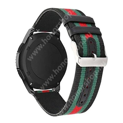 Okosóra szíj - szövet / valódi bőr, 22mm széles - FEKETE / ZÖLD / PIROS - SAMSUNG Galaxy Watch 46mm / HUAWEI Watch GT / GT 2 46mm / Gear S3 Frontier / Honor MagicWatch 2 46mm