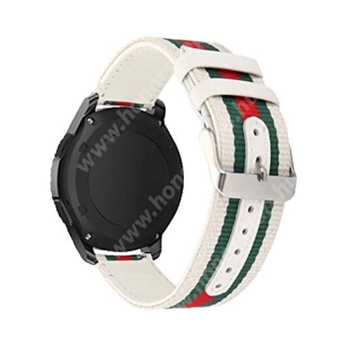 Okosóra szíj - szövet / valódi bőr, 22mm széles - FEHÉR / ZÖLD / PIROS - SAMSUNG Galaxy Watch 46mm / HUAWEI Watch GT / GT 2 46mm / Gear S3 Frontier / Honor MagicWatch 2 46mm
