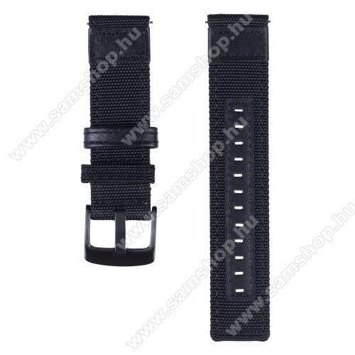 Okosóra szíj - szövet / valódi bőr, 85mm + 100mm hosszú, 21mm széles - FEKETE - SAMSUNG Galaxy Watch 46mm / SAMSUNG Gear S3 Classic / SAMSUNG Gear S3 Frontier