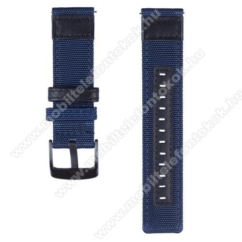 Okosóra szíj - szövet / valódi bőr, 85mm + 100mm hosszú, 22mm széles - KÉK - SAMSUNG Galaxy Watch 46mm / SAMSUNG Gear S3 Classic / Gear S3 Frontier / Honor MagicWatch 2 46mm