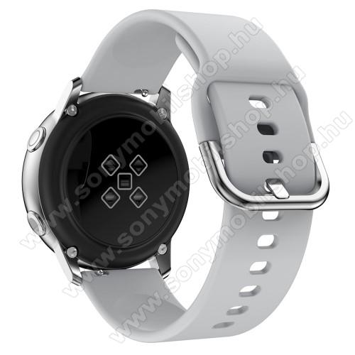 Okosóra szíj - SZÜRKE - szilikon - 83mm + 116mm hosszú, 20mm széles, 130mm-től 205mm-es méretű csuklóig ajánlott - SAMSUNG Galaxy Watch 42mm / Xiaomi Amazfit GTS / SAMSUNG Gear S2 / HUAWEI Watch GT 2 42mm / Galaxy Watch Active / Active 2