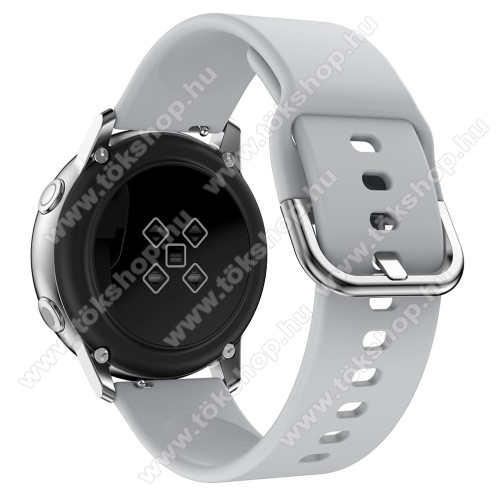 Okosóra szíj - SZÜRKE - szilikon - 83mm + 116mm hosszú, 20mm széles, 130mm-től 205mm-es méretű csuklóig ajánlott - SAMSUNG Galaxy Watch 42mm / Xiaomi Amazfit GTS / SAMSUNG Gear S2 / HUAWEI Watch GT 2 42mm / Galaxy Watch Active / Active 2
