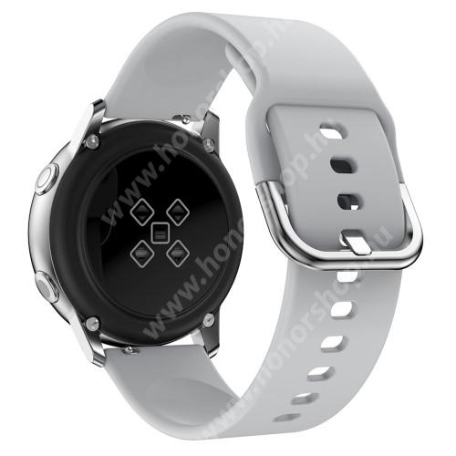 HUAWEI Honor MagicWatch 2 42mm Okosóra szíj - SZÜRKE - szilikon - 83mm + 116mm hosszú, 20mm széles, 130mm-től 205mm-es méretű csuklóig ajánlott - SAMSUNG Galaxy Watch 42mm / Xiaomi Amazfit GTS / SAMSUNG Gear S2 / HUAWEI Watch GT 2 42mm / Galaxy Watch Active / Active 2