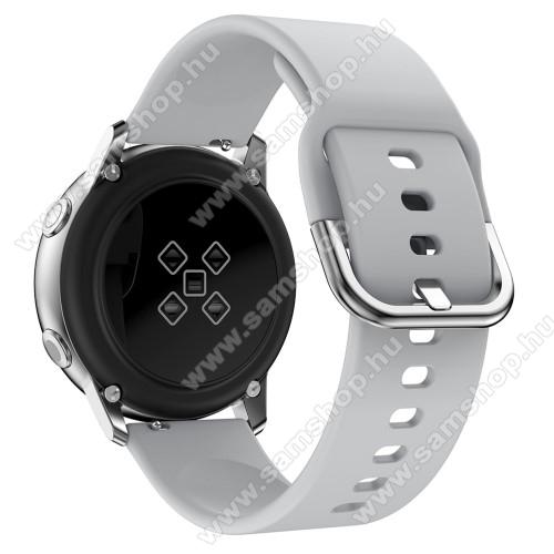 SAMSUNG Galaxy Watch Active2 44mmOkosóra szíj - SZÜRKE - szilikon - 83mm + 116mm hosszú, 20mm széles, 130mm-től 205mm-es méretű csuklóig ajánlott - SAMSUNG Galaxy Watch 42mm / Xiaomi Amazfit GTS / SAMSUNG Gear S2 / HUAWEI Watch GT 2 42mm / Galaxy Watch Active / Active 2