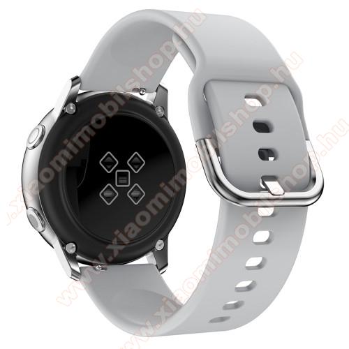 Xiaomi Amazfit Youth EditionOkosóra szíj - SZÜRKE - szilikon - 83mm + 116mm hosszú, 20mm széles, 130mm-től 205mm-es méretű csuklóig ajánlott - SAMSUNG Galaxy Watch 42mm / Xiaomi Amazfit GTS / SAMSUNG Gear S2 / HUAWEI Watch GT 2 42mm / Galaxy Watch Active / Active 2