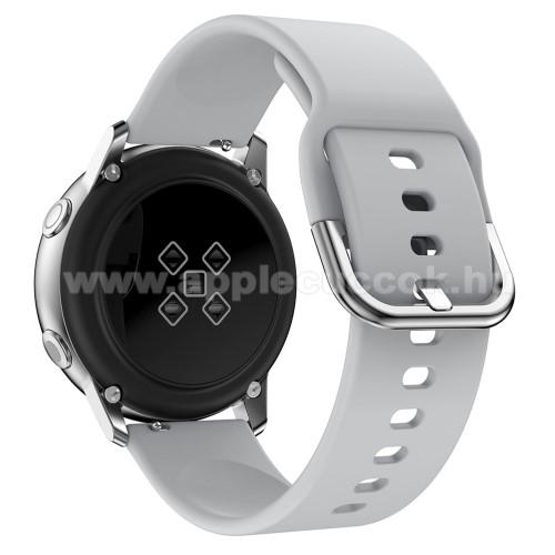 Okosóra szíj - SZÜRKE - szilikon - 83mm + 116mm hosszú, 20mm széles, 130mm-től 205mm-es méretű csuklóig ajánlott - SAMSUNG SM-R500 Galaxy Watch Active / SAMSUNG Galaxy Watch Active2 40mm / SAMSUNG Galaxy Watch Active2 44mm