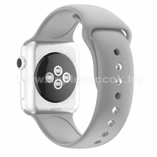 APPLE Watch Series 4 44mm Okosóra szíj - SZÜRKE - szilikon - APPLE Watch Series 3/2/1 42mm / APPLE Watch Series 4 44mm