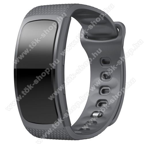 Okosóra szíj - SZÜRKE - szilikon, L-es méret, 90mm+123mm hosszú, 150mm-től 213mm-es méretű csuklóig ajánlott - SAMSUNG Gear Fit 2 SM-R360 / Samsung Gear Fit 2 Pro SM-R365