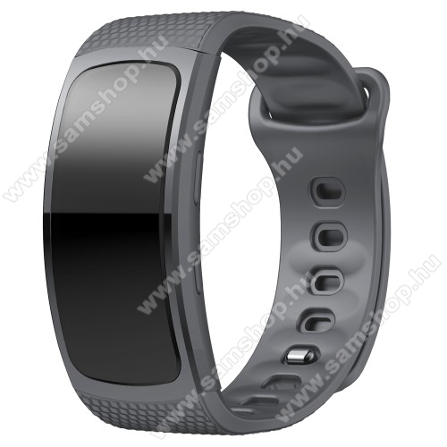 SAMSUNG Gear Fit 2 Pro (SM-R365)Okosóra szíj - SZÜRKE - szilikon, L-es méret, 90mm+123mm hosszú, 150mm-től 213mm-es méretű csuklóig ajánlott - SAMSUNG Gear Fit 2 SM-R360 / Samsung Gear Fit 2 Pro SM-R365