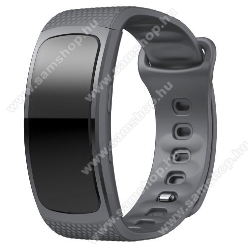 SAMSUNG Gear Fit 2 Pro (SM-R365)Okosóra szíj - SZÜRKE - szilikon, S-es méret, 95mm+90mm hosszú, 126mm-től 175mm-es méretű csuklóig ajánlott - SAMSUNG Gear Fit 2 SM-R360 / Samsung Gear Fit 2 Pro SM-R365