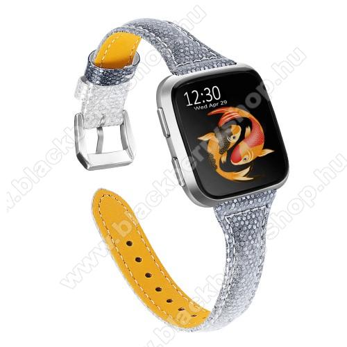 Okosóra szíj - SZÜRKE - valódi bőr, csillogó, 124mm+98mm hosszú, 23mm széles - Fitbit Versa / Fitbit Versa Lite / Fitbit Versa 2