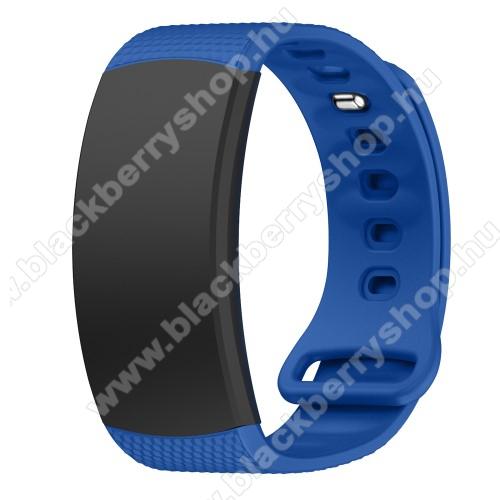 Okosóra szíj - TENGERÉSZKÉK - szilikon, L-es méret, 90mm+123mm hosszú, 150mm-től 213mm-es méretű csuklóig ajánlott - SAMSUNG Gear Fit 2 SM-R360 / Samsung Gear Fit 2 Pro SM-R365