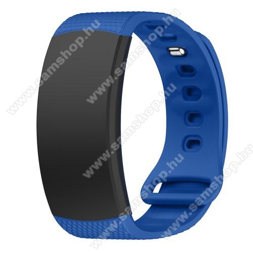 Okosóra szíj - TENGERÉSZKÉK - szilikon, S-es méret, 95mm+90mm hosszú, 126mm-től 175mm-es méretű csuklóig ajánlott - SAMSUNG Gear Fit 2 SM-R360 / Samsung Gear Fit 2 Pro SM-R365