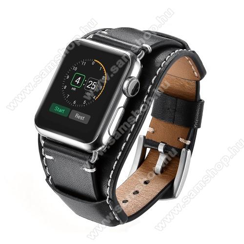 Okosóra szíj valódi bőr - 80mm + 120mm hosszú - FEKETE - Apple Watch Series 3 / 2 / 1 42mm / APPLE Watch Series 4 44mm / APPLE Watch Series 5 44mm