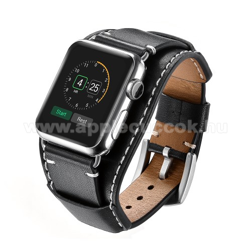 APPLE Watch Series 1 42mm Okosóra szíj valódi bőr - 80mm + 120mm hosszú - FEKETE - Apple Watch Series 3 / 2 / 1 42mm / APPLE Watch Series 4 44mm / APPLE Watch Series 5 44mm