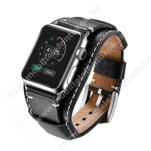 APPLE Watch Series 6 44mmOkosóra szíj valódi bőr - 80mm + 120mm hosszú - FEKETE - Apple Watch Series 3 / 2 / 1 42mm / APPLE Watch Series 4 44mm / APPLE Watch Series 5 44mm