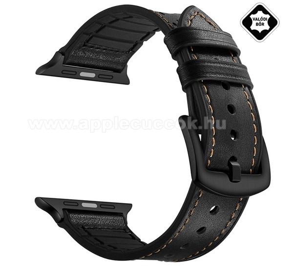 APPLE Watch Series 4 40mmOkosóra szíj valódi bőr - légáteresztő - FEKETE - Apple Watch Series 3 / 2 / 1 38mm / APPLE Watch Series 4 40mm / APPLE Watch Series 5 40mm