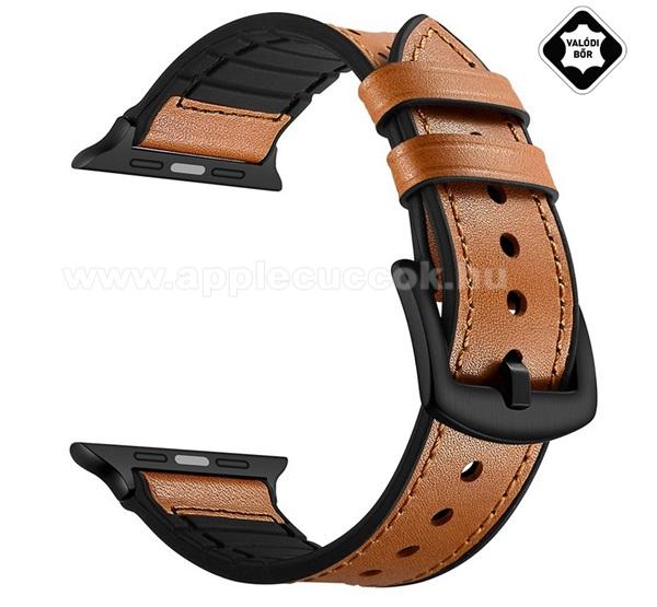 APPLE Watch Series 4 40mmOkosóra szíj valódi bőr - légáteresztő - VILÁGOSBARNA - Apple Watch Series 3 / 2 / 1 38mm / APPLE Watch Series 4 40mm / APPLE Watch Series 5 40mm