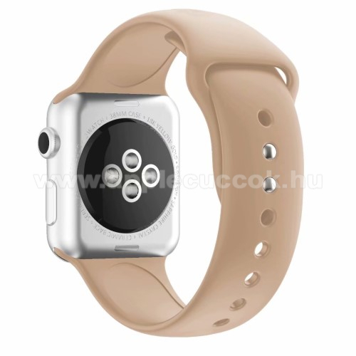 APPLE Watch Series 4 44mm Okosóra szíj - VILÁGOSBARNA - szilikon - APPLE Watch Series 3/2/1 42mm / APPLE Watch Series 4 44mm