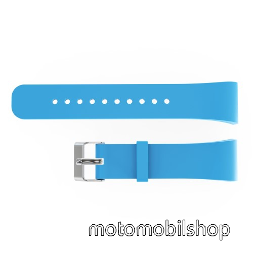 Okosóra szíj - VILÁGOSKÉK - szilikon, 20cm hosszú és 2cm széles - SAMSUNG Gear Fit 2 SM-R360 / Samsung Gear Fit 2 Pro SM-R365 - 128.29mm + 72.07mm hosszú