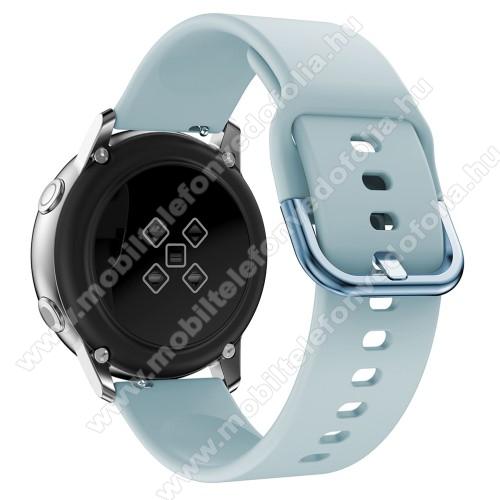 Garmin VenuOkosóra szíj - VILÁGOSKÉK - szilikon - 83mm + 116mm hosszú, 20mm széles, 130mm-től 205mm-es méretű csuklóig ajánlott - SAMSUNG Galaxy Watch 42mm / Xiaomi Amazfit GTS / SAMSUNG Gear S2 / HUAWEI Watch GT 2 42mm / Galaxy Watch Active / Active 2