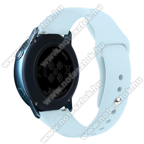 HUAWEI Honor MagicWatch 2 42mm Okosóra szíj - VILÁGOSKÉK - szilikon - 95mm + 130mm hosszú, 20mm széles, 170mm-től 225mm-es méretű csuklóig ajánlott - SAMSUNG Galaxy Watch 42mm / Xiaomi Amazfit GTS / SAMSUNG Gear S2 / HUAWEI Watch GT 2 42mm / Galaxy Watch Active / Active 2