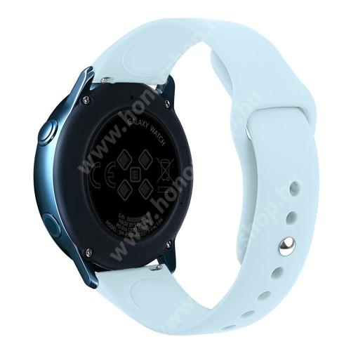 HUAWEI Honor MagicWatch 2 42mm Okosóra szíj - VILÁGOSKÉK - szilikon - 95mm + 130mm hosszú, 20mm széles, 170mm-től 225mm-es méretű csuklóig ajánlott - SAMSUNG Galaxy Watch 42mm / Xiaomi Amazfit GTS / SAMSUNG Gear S2 / HUAWEI Watch GT 2 42mm / Galaxy Watch Active / Active 2