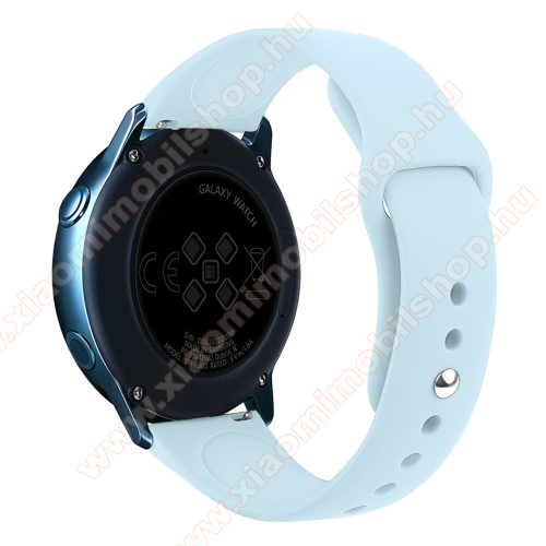 Xiaomi Amazfit Youth Edition Okosóra szíj - VILÁGOSKÉK - szilikon - 95mm + 130mm hosszú, 20mm széles, 170mm-től 225mm-es méretű csuklóig ajánlott - SAMSUNG Galaxy Watch 42mm / Xiaomi Amazfit GTS / HUAWEI Watch GT / SAMSUNG Gear S2 / HUAWEI Watch GT 2 42mm / Galaxy Watch Active / Acti