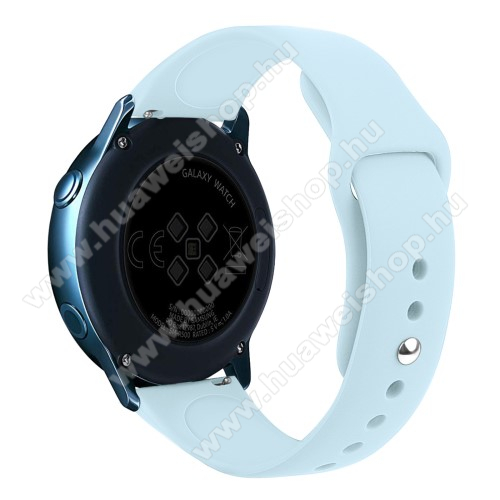 Okosóra szíj - VILÁGOSKÉK - szilikon - 95mm + 130mm hosszú, 20mm széles, 170mm-től 225mm-es méretű csuklóig ajánlott - SAMSUNG Galaxy Watch 42mm / Xiaomi Amazfit GTS / HUAWEI Watch GT / SAMSUNG Gear S2 / HUAWEI Watch GT 2 42mm / Galaxy Watch Active / Acti