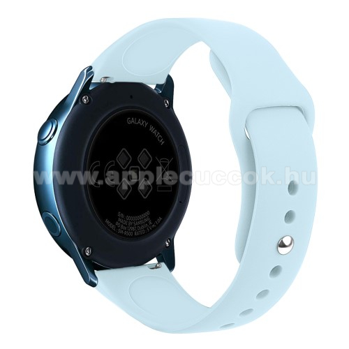Okosóra szíj - VILÁGOSKÉK - szilikon - 95mm + 130mm hosszú, 20mm széles, 170mm-től 225mm-es méretű csuklóig ajánlott - SAMSUNG SM-R500 Galaxy Watch Active / SAMSUNG Galaxy Watch Active2 40mm / SAMSUNG Galaxy Watch Active2 44mm