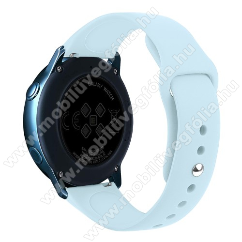 HUAWEI MagicWatch 2 42mm Okosóra szíj - VILÁGOSKÉK - szilikon - 95mm + 130mm hosszú, 20mm széles, 170mm-től 225mm-es méretű csuklóig ajánlott - SAMSUNG Galaxy Watch 42mm / Xiaomi Amazfit GTS / HUAWEI Watch GT / SAMSUNG Gear S2 / HUAWEI Watch GT 2 42mm / Galaxy Watch Active / Acti
