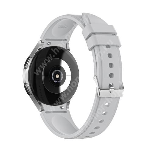 Okosóra szíj - VILÁGOSSZÜRKE - szilikon - 130mm+85mm hosszú, 20mm széles - SAMSUNG Galaxy Watch4 Classic 46mm (SM-R890) / Watch4 Classic 42mm (SM-R880) / Watch4 44mm (SM-R870) / Watch4 40mm (SM-R860)