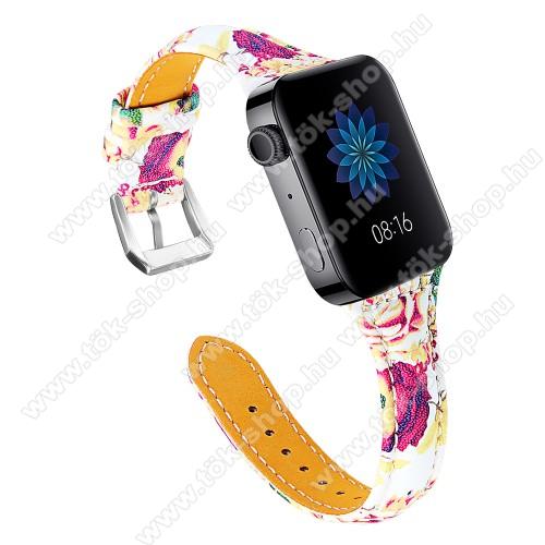 Okosóra szíj - VIRÁG MINTÁS - valódi bőr, 115 + 75mm hosszú, 55-76mm átmérőjű csuklóméretig - Xiaomi Mi Watch