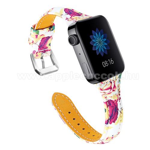 Okosóra szíj - VIRÁG MINTÁS - valódi bőr, 115 + 75mm hosszú, 18mm széles, 55-76mm átmérőjű csuklóméretig - Xiaomi Mi Watch (For China Market) / Fossil Gen 4 / HUAWEI TalkBand B5