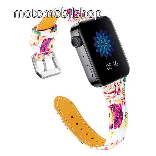 Okosóra szíj - VIRÁG MINTÁS - valódi bőr, 115 + 75mm hosszú, 18mm széles, 55-76mm átmérőjű csuklóméretig - Xiaomi Mi Watch / Fitbit Charge 3 / Fossil Gen 4 / HUAWEI TalkBand B5