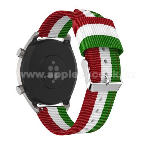 Okosóra szíj - ZÖLD / FEHÉR / PIROS - Szövet - 125 + 86mm hosszú, 22mm széles - SAMSUNG Galaxy Watch 46mm / SAMSUNG Gear S3 Classic / Gear S3 Frontier / Honor MagicWatch 2 46mm